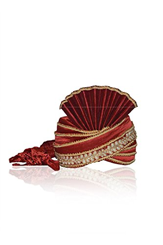 (Sangrahan Maroon Color Raw Silk Turban For Men 72477)