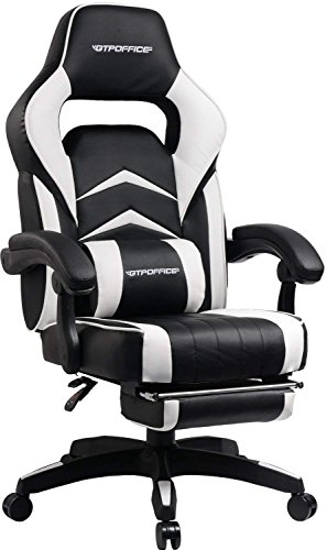Gaming Chair Racing Style Office Swivel Computer Desk Chair Ergonomic Conference Executive Manager Work Chair PU Leather High Back Adjustable Task Chair With Lumbar and Padded Footrest (White)