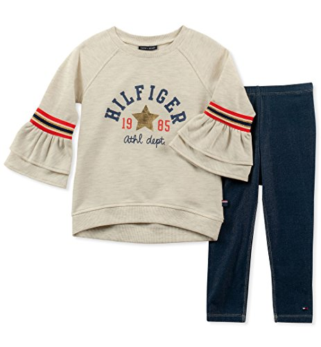 Tommy Hilfiger Girls' Toddler 2 Pieces Tunic Leggings Set, Oatmeal/Blue, 2T (Tommy Hilfiger Tunic)
