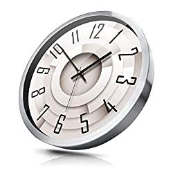 Creative Three-Dimensional Spiral Wall Clock Modern Minimalist Silent Metal Frame Quartz Clock Wall Clock (Color : Silver, Size : 14 inches)