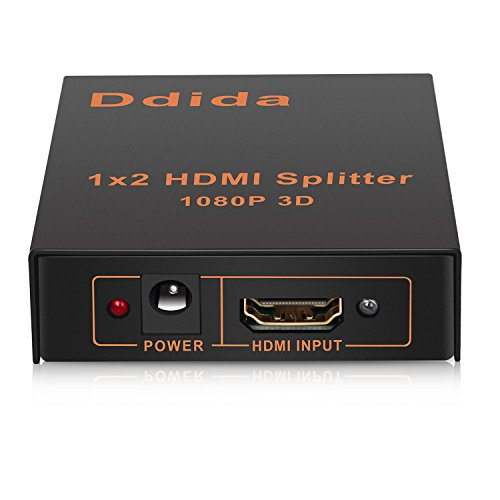 Hdmi Splitter,Ddida Powered Full HD 1080P V1.4 Support 4K/2K and 3D Resolution-1 Source to 2Displays