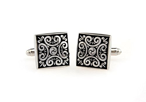 KUPOO antique Buddhist pattern wedding suit shirt cufflinks for (Stainless Steel And Sterling Silver Cufflinks)