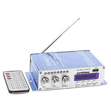 LYWS - Amplificador de alimentación estéreo para coche, 12 V CC, USB, MP3, DVD, CD, FM, SD, modo de sonido digital: Amazon.es: Instrumentos musicales