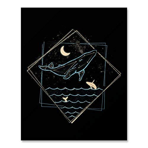 (Whale Constellation Art Print Nautical Whimsical Surreal Ocean Lover Sea Creature Wall Art Underwater Marine Life Fish Crescent Moon Stars Inspirational Calming Home Decor 8 x 10 Inches)