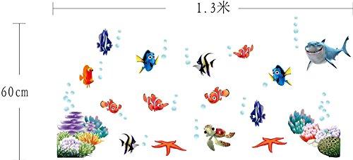 iNewcow Tiny Tots Room Decor 3D Wall Decals Cartoon Stickers Wallpapers Wall Pops For Kindergarten/Nursery(Underwater World/Clownfish/Shark/Sea Stars)