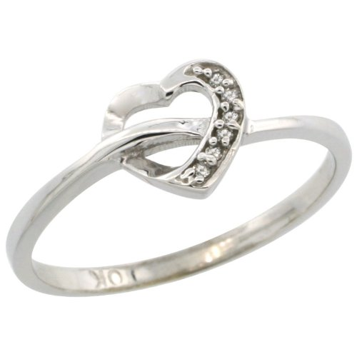 wide size 5 7mm 10k White Gold Heart Cut Out Diamond Engagement Ring w// 0.022 Carat Brilliant Cut Diamonds 1//4 in.