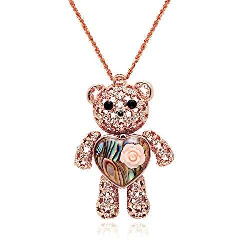 CHUANGYUN Princess Bear Pendant Love Heart Abalone Shell Pendant Necklace Women Jewelry Necklace(Rose Gold)