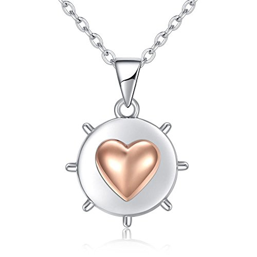 LXIANGP Necklace 925 Sterling Silver Roulette Heart-Shaped Two-Color Necklace Pendant Style Sterling Silver Necklace ()