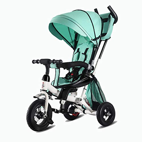 UBRAVOO 4-in-1 Kids Tricycle Stroller with 5-Point Belt, Brakes, Canopy & Storage Bag, Steering 4in1 Trikes for Kids 6Months-5T (Green)