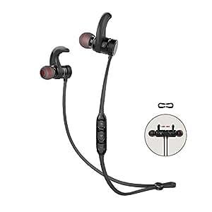 Auriculares Bluetooth AWEI A920BLS, auriculares deportivos inalámbricos con micrófono para todos los dispositivos Bluetooth habilitados (negro)