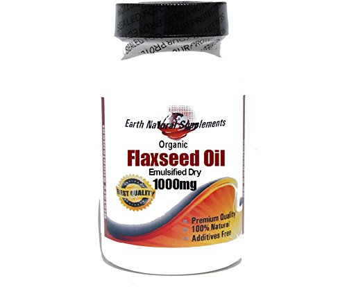Organic Flaxseed Oil (Emulsified Dry) 1000mg * 200 Capsules 100 % Natural - by EarhNaturalSupplements