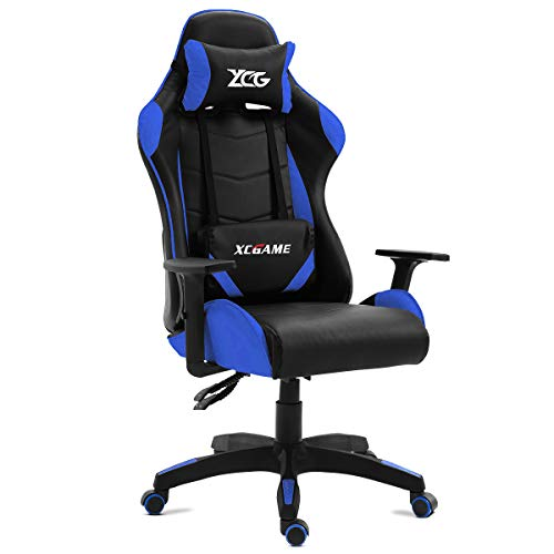 KEWAYES GAMING - Silla Gamer oficina Gaming, sillon Escritorio Despacho giratoria color Azul, reclinable ajustables apoyabrazos, 5 ruedas