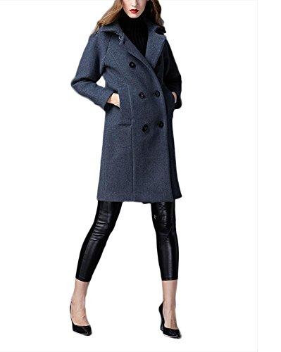 Chaqueta de lana de invierno engrosamiento de las mujeres Chaqueta de cachemira Outwear Cazadora Siut Collar de doble botonadura gris gray