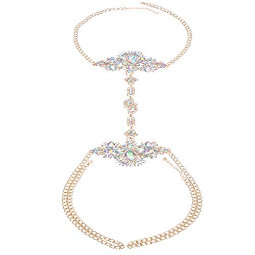 NABROJ Body Chain Chokers De Cristal Gold Chain with Bling Crystals Glass Statement Necklace Body Jewelry for Women-STL10 Crystal