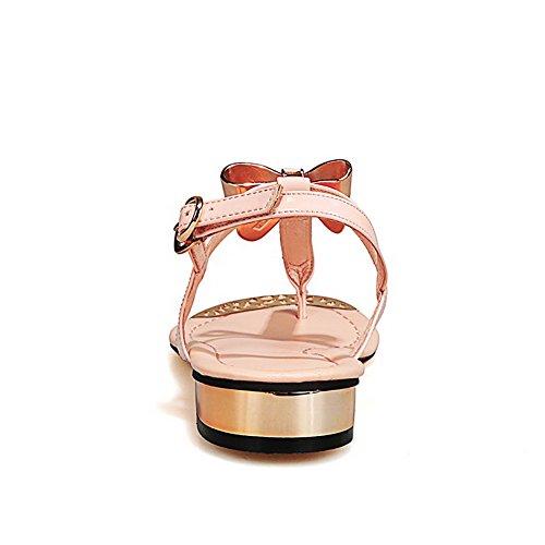 AgooLar Women's Low-heels Soft Material Solid Buckle Split Toe Sandals apricot oRU6w