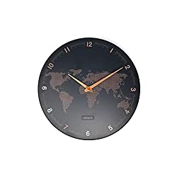 "Arospa World View Traveler Map Design Non-Ticking Silent Sweep 12"" Open Face Wall Clock with Matte Black Finished Frame (Rose Gold Dot)"