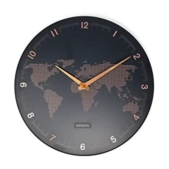 Amazon globe wall clock world map atlas geography teacher gift arospa world view traveler map design non ticking silent sweep 12 open face wall clock with matte black finished frame rose gold dot gumiabroncs Choice Image