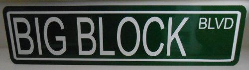 Motown Automotive Design METAL STREET SIGN BIG BLOCK BLVD 6 x 24