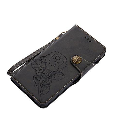 MEIRISHUN Leather Wallet Case Cover Carcasa Funda con Ranura de Tarjeta Cierre Magnético y función de soporte para Samsung Galaxy A5 (2016) - Verde Negro