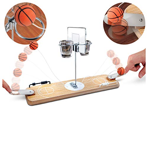 Refinery 2-Player Wooden Basketball Game, Vintage-Inspired Tabletop Hoops, 2 Shot Glass Baskets for Extra Fun, Drinking Game for Adults, Perfect for Bar or Man Cave, Keep Score with Sliding Rings (Best Games On Tabletop)