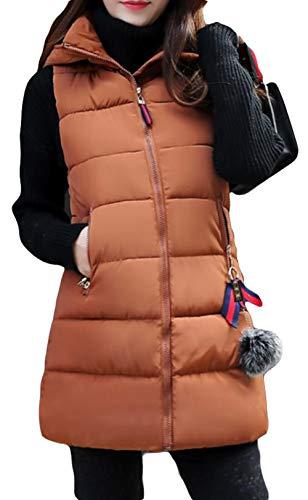 真夜中図経験者BeiBang(バイバン) 中綿ベスト レディース ロング 綿入れコート ノースリーブ 厚手 アウター フード付き ロングベスト 防寒ジャケット 細身 軽量 暖かい 中綿 着痩せ おしゃれ
