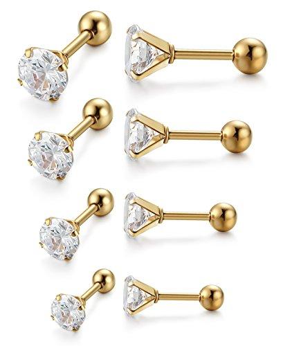 Jstyle Stainless Zirconia Earrings Piercings