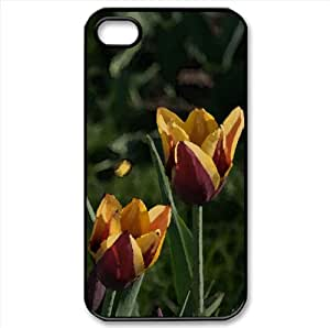 Two Colors Tulips Watercolor style Cover iPhone 4 and 4S Case (Flowers Watercolor style Cover iPhone 4 and 4S Case)