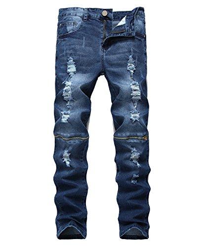 Idopy Men`s Hipster Hip Hop Distressed Ripped Washed Denim Biker Jeans (34, Q070 (Wash Hipster Jean)