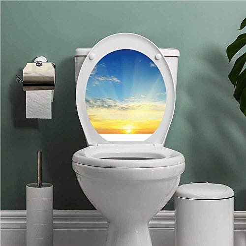 SCOCICI1588 Sky Vinyl Sun Rays Above The Horizon Sunset Clouds Seasonal Scenic Beauty of The World Picture Used to Any Smooth Surface Blue Yellow W13XL16 INCH