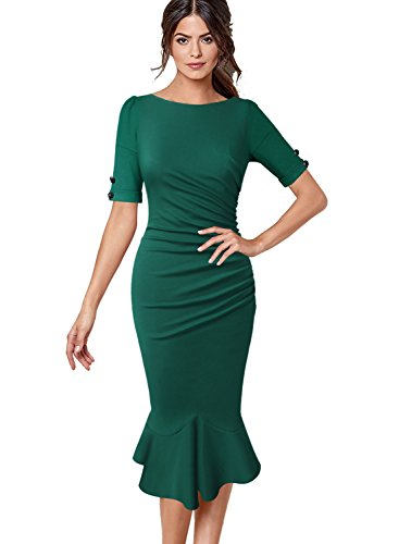 VfEmage Womens Elegant Vintage Cocktail Party Mermaid Midi Mid-Calf Dress 8925 GRN 22