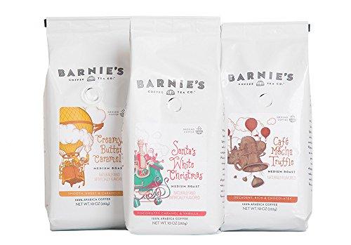 Barnies Coffee & Tea Original Premium Flavors Ground Coffee Trio, Santas White Christmas, Creamy Buttery Caramel, Café Mocha Truffle, Medium Roast, Arabica Coffee, Three 10 oz Bags