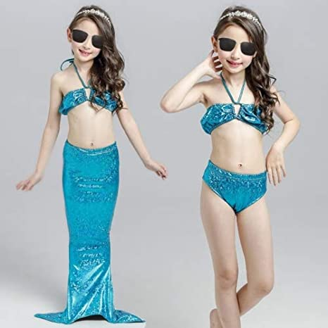Image Unavailable. Image not available for. Color  HITSAN INCORPORATION Girl  Mermaid Tail 3 Pieces Swimmable Bikini Set Cute Swimsuit ... cc412044599