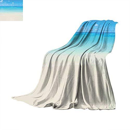 Ocean Faux Fur Blanket Paradise Beach in Tropical Caribbean Sea with Fantastic Sky View Beach House Theme Fleece Blanket Cream Navy. 50