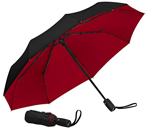 Repel Windproof Travel Umbrella with Teflon Coating (Black/Red)