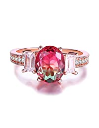 Oval CZ Simulated Ametrine Citrine Watermelon Crystal Solitaire Rings for Women, White Gold Plated Size 5-9