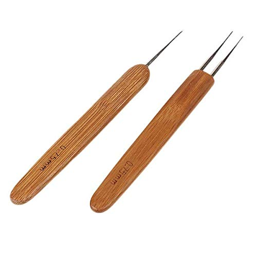 Chris.W 2Pcs 0.75mm Dreadlocks Crochet Hooks Set of