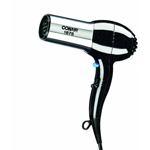 Conair 1875 Watt Full Size Pro Hair Dryer with Ionic Conditioning; Black/Chrome  (packaging may vary)