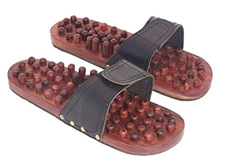 Valentine Day Special Gift, Wooden Footwear Massager, Black Color Strip Massager, Wooden Relaxing Acupressure Slippers& Chappals For Good Health,Massager Woode, Brown Bolor Size 10 X 3.5 Inch