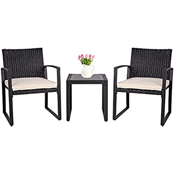 Charmant SUNLEI 3 Pieces Patio Set Outdoor Wicker Patio Furniture Sets Modern Bistro  Set Molded Rattan Chair