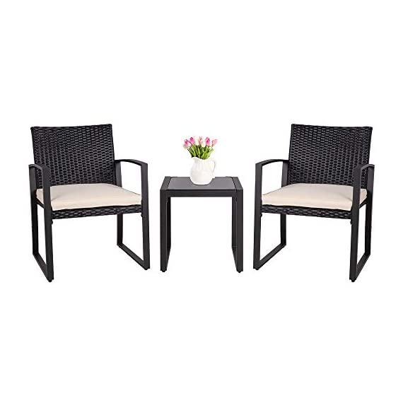 SUNLEI Outdoor 3-Piece Bistro Set Black Wicker Furniture-Two Chairs with Glass Coffee Table (Beige Cushion) - SUNLEI presents this beautiful black wicker bistro set that includes two rocking chairs with cushions and a coffee table. Outdoor living just got better. Not only does it look great but it feels great too! This patio bistro set seats two and adds ambiance when you entertain. Anti-drop four suckers design makes the tempered glass more stable. Ergonomically Designed for Comfort - Thickly cushioned chairs for maximum comfort. Added rocking feature to rock yourself into a state of relaxation. while the thick, plush cushions provide the comfort you need after a long day on your feet. ELEGANT GLASS TABLE TOP - Bistro set features and elegant glass top side table perfect for a couple glasses of wine or the morning coffee and newspaper. do not use bleach or solvent.Your guests can bring their drinks outside and place them on the set's coffee table. - patio-furniture, patio, conversation-sets - 41UGXUlDw6L. SS570  -