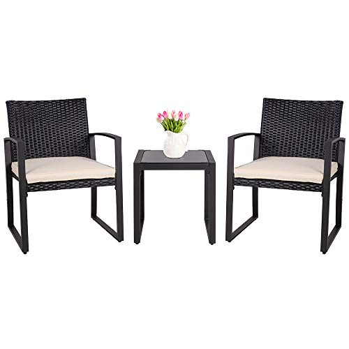 SUNLEI 3 Pieces Patio Set Outdoor Wicker Patio Furniture Sets Modern Bistro Set Molded Rattan Chair Conversation Sets with Coffee Table (Black) (Furniture Outdoor Sets Modern)