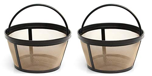 12 Cup Gold Tone Filter - 2 X Permanent Basket-Style Gold Tone Coffee Filter designed for Mr. Coffee 10-12 Cup Basket-Style Coffeemakers
