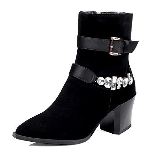 toe Boots Black WeiPoot with Metalornament Frosted Glass Closed Solid Diamond and Women's wqXxBXpI