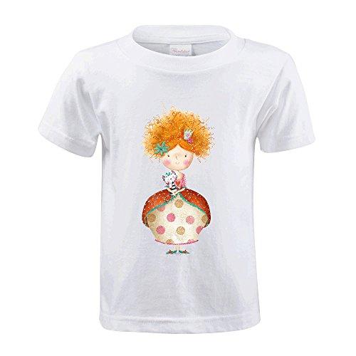 Cutestory Cute Small Princess With Cat Chirldren Design Cotton T Shirts White