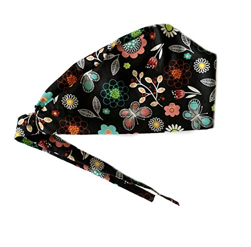Women's Front Fold Tie Back Scrub Cap Surgical Cap Black Flowers Butterflies