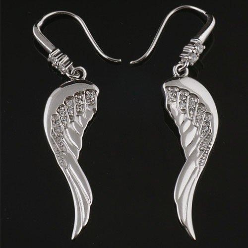 925 Sterling Silver Cubic Zirconia CZ Angel Wings Dangle Hook Earrings