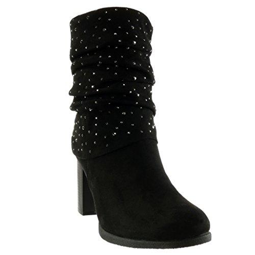 Talon Souple CM Bottine Chaussure Angkorly 8 Mode Couverte Int Haut Femme Bloc Strass Diamant qfS78wt7x