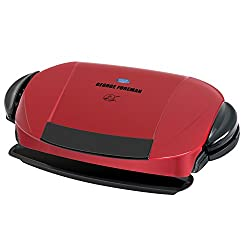 George Foreman 5-serving Removable Plate Electric Indoor Grill & Panini Press, Red, Grp0004r