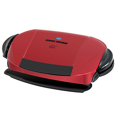 George Foreman 5-Serving Removable Plate Electric Indoor Grill and Panini Press, Red, GRP0004R For Sale