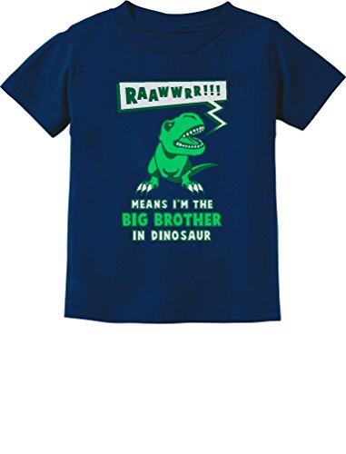 Tstars Big Brother In Dinosaur Trex Big Brother Gift Toddler/Infant Kids T-Shirt 2T Navy - Little Brother Dinosaur
